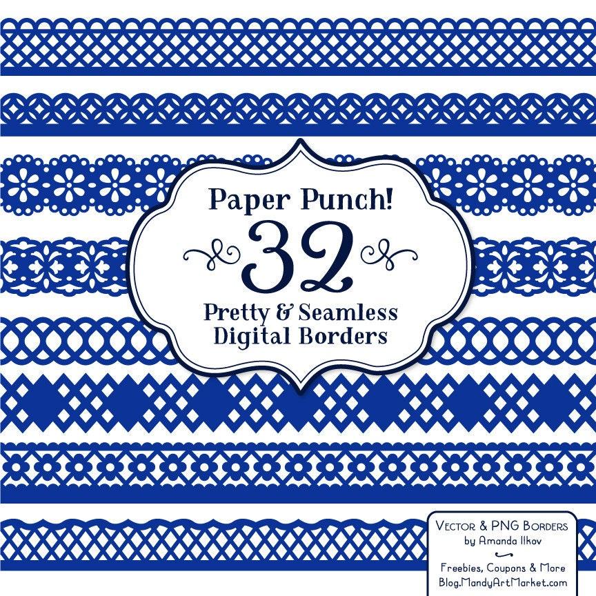32 Premium Royal Blue Paper Punch Lace Borders Clipart