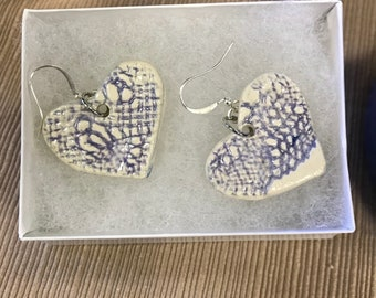 Pottery heart earrings