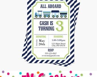Train Birthday Party Invitations - Train Birthday Party Printable Invite - Boy Party Invitations - Train Baby Shower Invitation - Green Navy