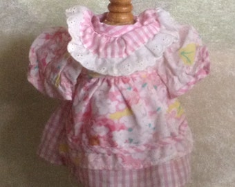 Sweet Pink Checked Doll Dress