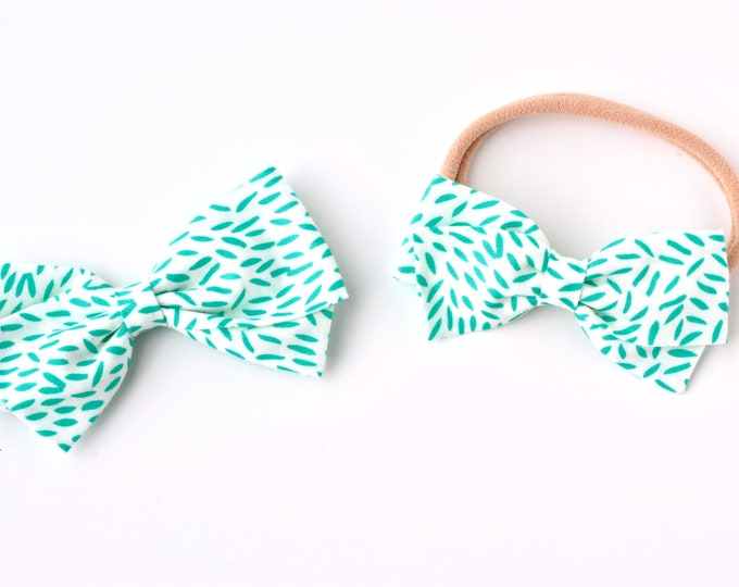 White and Turquoise Hair Bows For Girls - Fabric Hair Bows for Girls - Nylon Headbands or Hair Clips for Girls