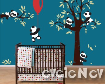 Panda Wall Decals - Nursery Wall Decals for kids room with Tree and Five Little Bears -  PLTBRS030