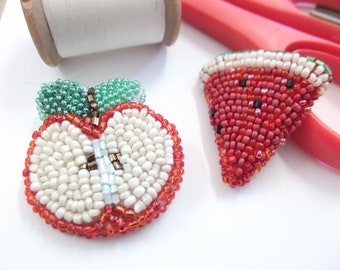 apple brooch - watermelon brooch - brooch for cardigan - brooch for jacket - beaded brooch - gift for teachers - fruit lover