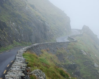 Winding Road - Fog - Slea Head Drive - Dingle - County Kerry - Republic of Ireland - Ireland - Photo - Print