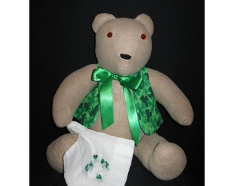 Irish Teddy Bear with Vest and Vintage Hankie