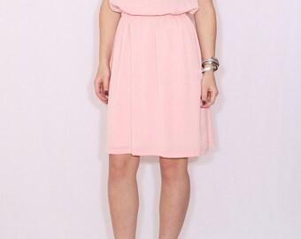 Peach dress Short Bridesmaid dress Chiffon dress Keyhole dress