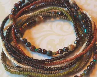 Seed bead bracelet, beaded bracelet, stretch bracelet, beaded jewelry, bracelet set of 8, stretch bracelet set, brown bracelet, boho set