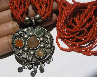 Statement Necklace . Boho Gypsy . Coral . tibetan jewelry