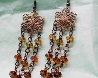 Antique Brass Chandelier Earrings