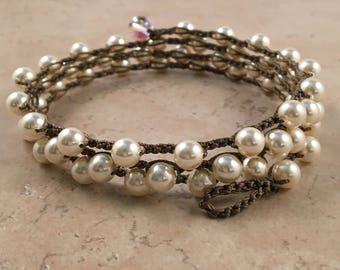 Earthy Boho-Style Swarovski Cream Pearl Crochet Necklaces (3 sizes)