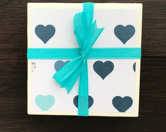 Tile Coasters, White with blue and teal hearts