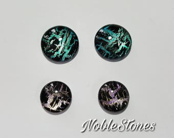 Glass Cabochon Set, 2 x 14 mm and 2x 18 mm, painted by hand in several layers, self-adhesive