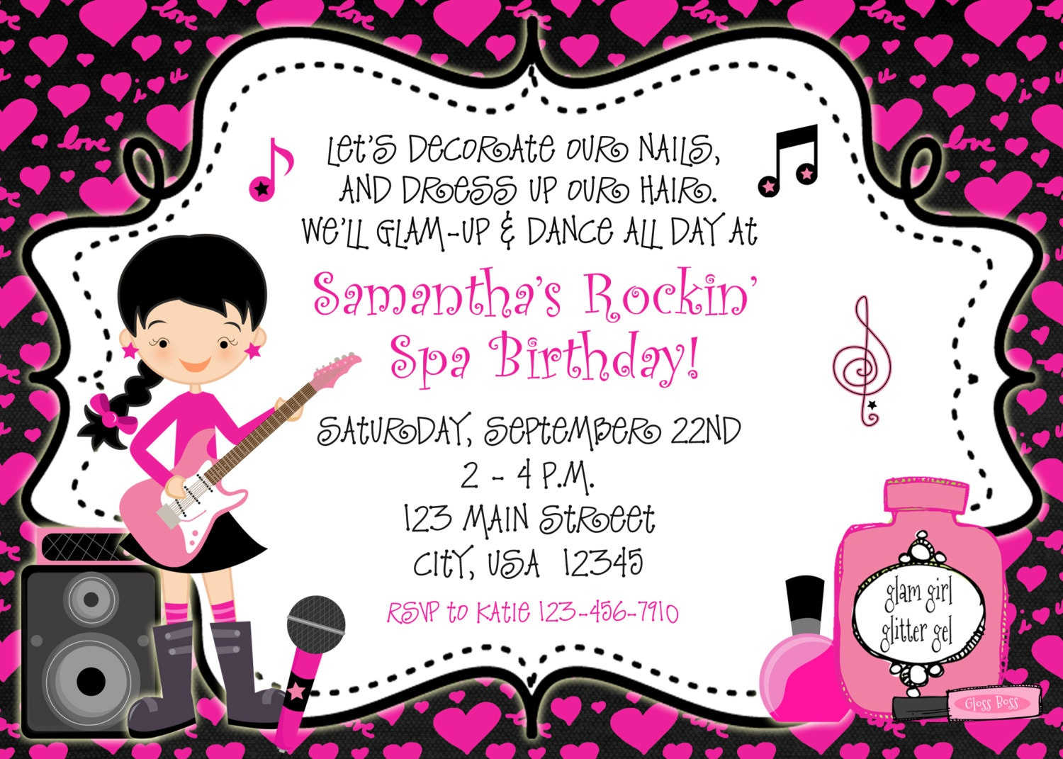 Rockin Spa Birthday Party Invitation glamour dance party