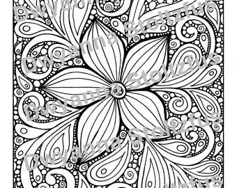 Henna Style Flower Coloring Page JPG