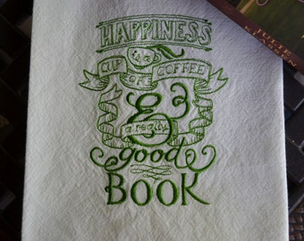 Embroidered Towel, Coffee and Books, Shipping Included!!