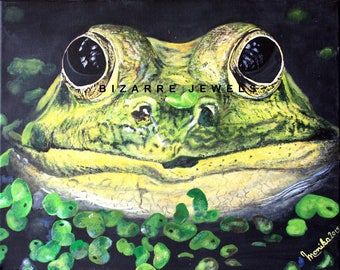 Copy Print ARTBOARD MOUNTED REGULAR on Matte Canvas from my Original 20x16 Acrylic Painting Frog you choose Size Home Decor