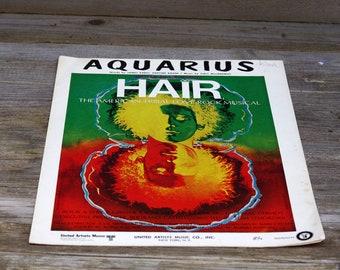 Vintage Sheet Music Aquarius Hair