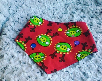 "Baby/kid ""Angry Birds"" - Bandana bib, bib, Christmas, snaps fluorescent, adjustable, multitailles"