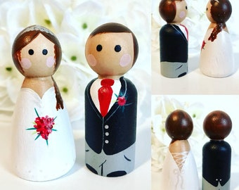 Wedding Bride and Groom Peg Dolls, cake topper, gift, wedding, personalised, Mr & Mrs, Handmade Wooden