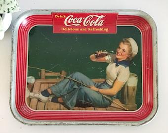 Vintage 1940's Coca Cola Metal Advertising Tray, Sailor Girl, American Art Works, USA, Collection, Memorabilia