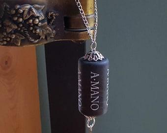 Wine Cork Ornament, Wine Bottle Charm, Classy Black & Silver Ornament