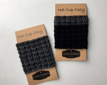 Coffee Cup Cozies / Cup Sleeves // Set of 2 // Dark Gray and Black/Dark Gray Cass
