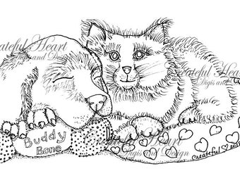 Bluebell and Maxie, - cuddled up cute - puppy, kitty  digital stamp, image