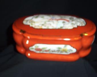 Hand painted porcelain box