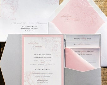 Luxury blush pocket wedding invitations, silver and blush wedding invitation suite, blush floral pink and silver wedding SAMPLE SET PBW009-S
