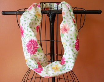 Fabric Infinity Scarf in Pastel Floral w/ Leaves