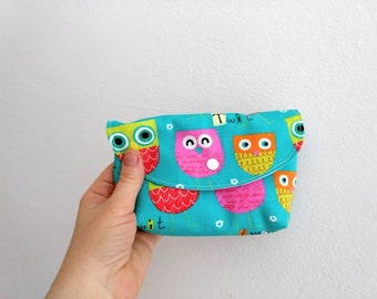 Mini Makeup-Clutch  *OWLS*, small padded cosmetic bag, toiletry pouch, Makeup pouch, little Make Up-bag