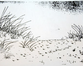 Sand Dunes Beach Unmounted Rubber Stamp Large Card Making Cape Cod Sea Grass Vacation Summer