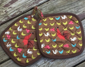 Set of 2 Pot Holders Hot Pads Country Kitchen Rooster insulated