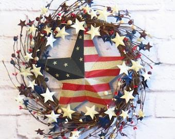 Patriotic Wreath, Memorial Day Wreath, Patriotic Wreath with Stars,  July 4th Wreath, Veterans Day Wreath,  Americana Decor
