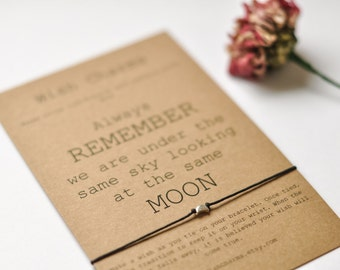 Long Distance Bracelet Card, Best Friend Long Distance Bracelet, Moon Bracelet, Long Distance Relationship Card, I Miss You Card, Moon Quote