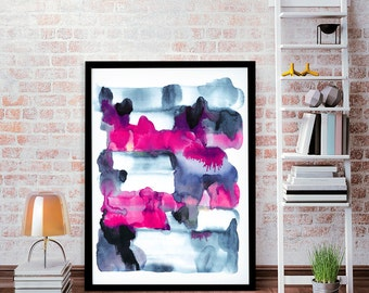 Sunrise, LARGE watercolor art, blue abstract painting, abstract wall decor, blue watercolor art, acrylic abstract art