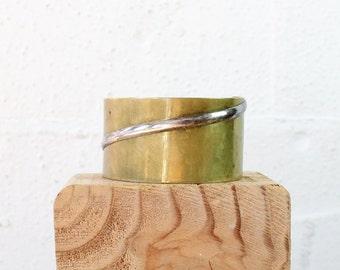 Brass Cuff Bracelet • Mixed Metal Cuff Bracelet • Brutalist Jewelry • Boho Cuff Bracelet • Brass Bracelet • 80s Jewelry | BR179