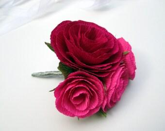 Wedding Boutonniere/Paper Flower Boutonniere/Rustic Boutonniere/Groom's Boutonniere/ Pink and RedBoutonniere