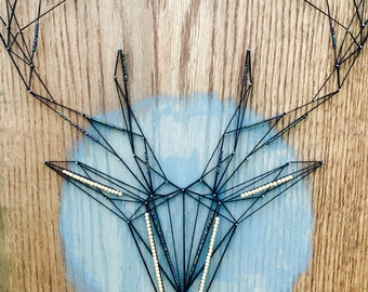 CUSTOM ORDER *Antlers* String Art Recycled Wood Found Items Salvage Art