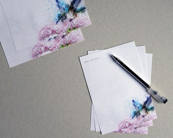 Flower bird letterpaper, two size, Write letters, lined paper, snail mail, penpal, no A4 / A5, writing paper, cards, envelopes, high quality