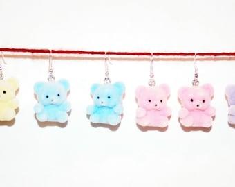 Fuzzy Teddy Bear Earrings in 5 colors