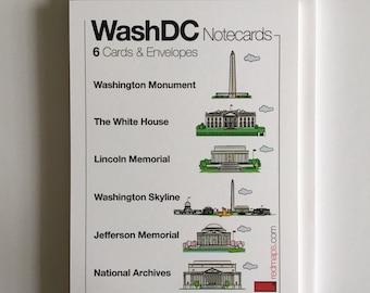 Red Maps Washington DC Themed Flat Card Stationery Set