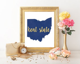Kent State University Watercolor Gold Leaf Printable (8x10)