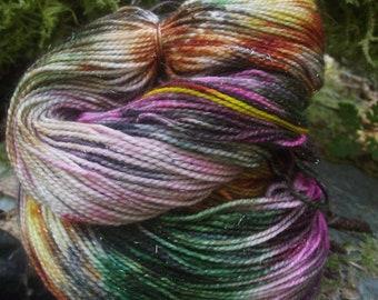 Handpainted sock yarn, fingering yarn, Superwash Sparkle Merino  Nylon, 100 grams-Poison Apple
