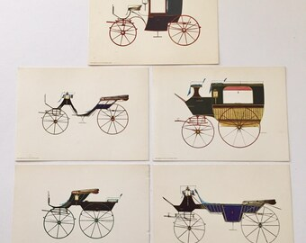 Vintage 1960s Set of 5 Antique Carriage Lithographs Gallery Unframed 5 x 7 Donald Art Co