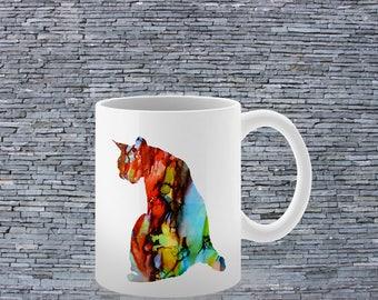 White Ceramic Mug - Cat Mug - Art Mug - Coffee Mug - Tea Mug