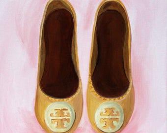 Custom Fashion Illustration, Original Painting, Tory Burch Art, Custom Shoe Art, Fashion Wall Art, Shoe Painting, Tory Burch Flats, Shoe Art