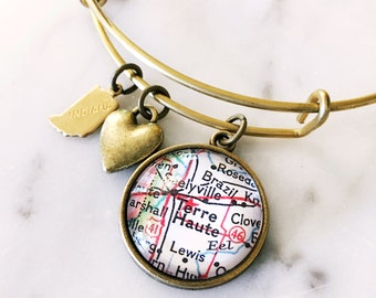 Terre Haute Map Charm Bracelet - Map Jewery - Travel Jewelry - Indiana - Midwest - Travel - Wanderlust