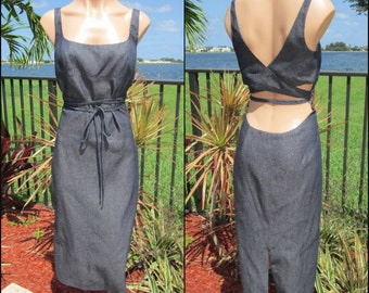 Richard Tyler Couture Denim Dress / Sz 10 / Fits M / Sexy Denim Dress / Richard Tyler Dress / Wrap Denim Dress / 90s Denim Dress