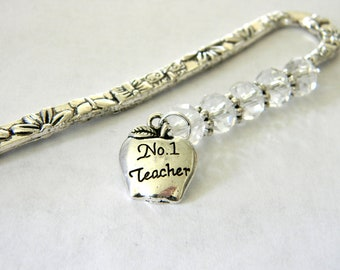 Teacher Apple Bookmark with Clear Glass Beads Shepherd Hook Style Flower Bookmark Silver Color